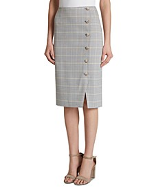 Windowpane Button-Detail Pencil Skirt