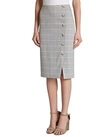 Windowpane Button-Detail Pencil Skirt