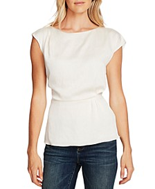 Extended-Shoulder Cinched-Waist Blouse