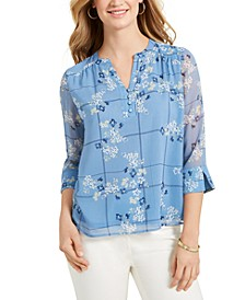Petite Printed Sheer-Sleeve Top, Created for Macy's