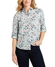Petite Floral-Print Utility Shirt, Created For Macy's