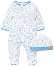 Baby Boys 2-Pc. Cotton Teddy-Print Hat & Footed Coverall