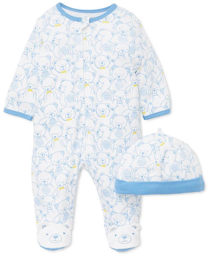 Little Me - Baby Boys 2-Pc. Cotton Teddy-Print Hat & Footed Coverall