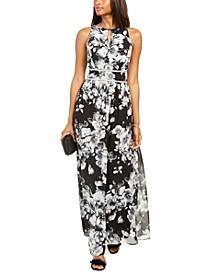 Rhinestone-Waist Floral-Print Gown
