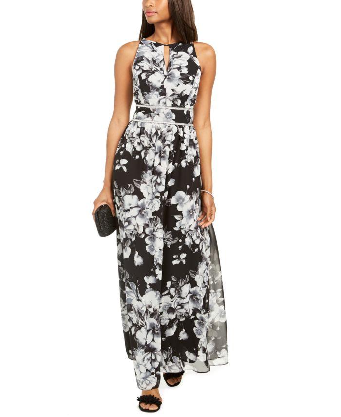 R & M Richards Rhinestone-Waist Floral-Print Gown & Reviews - Dresses - Women - Macy's