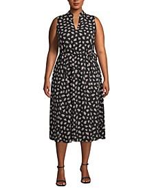 Plus Size Ivy-Print Midi Dress