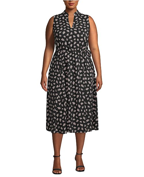 Anne Klein Plus Size Ivy-Print Midi Dress