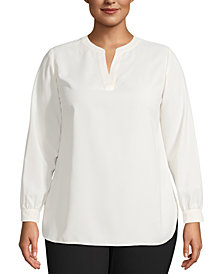 Anne Klein Plus Size Split-Neck Tunic