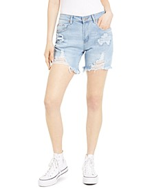 Juniors' Ripped Raw-Hem Denim Bermuda Shorts