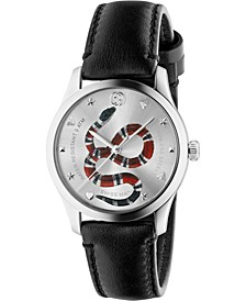 Men's Swiss G-Timeless Black Leather Strap Watch 38mm, Created for Macy's