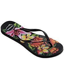 Women's Slim Floral Flip Flops