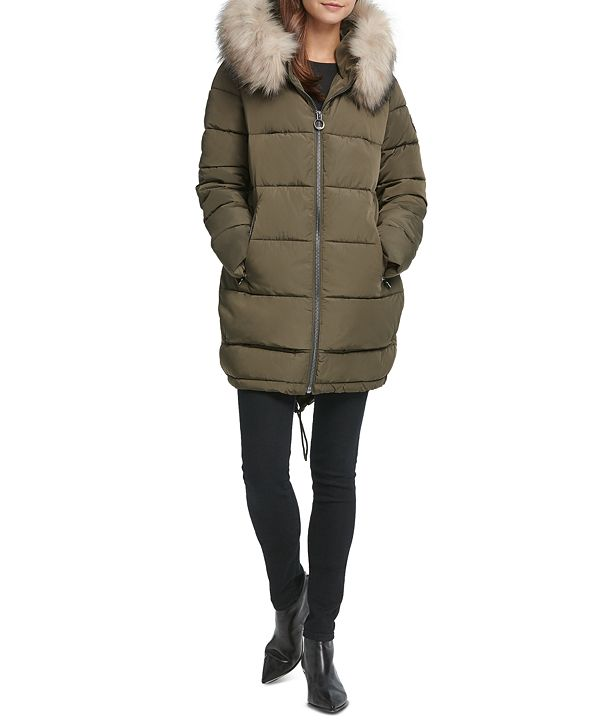 DKNY Faux-Fur-Trim Hooded Puffer Coat & Reviews - Coats ...