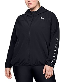 Plus Size Zippered Logo Hoodie