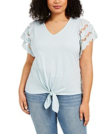 Plus Size Eyelet-Sleeve Tie-Front Top, Created for Macy's