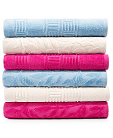 CLOSEOUT! Mainstream International Inc. Basket Weave and Trailing Flower Towel Collection