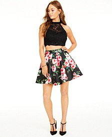 Juniors' 2-Pc. Lace Halter Top & Floral-Print Skirt
