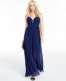 Juniors' Chiffon Cutout Gown