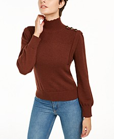 INC Button-Shoulder Utility Sweater, Created for Macy's