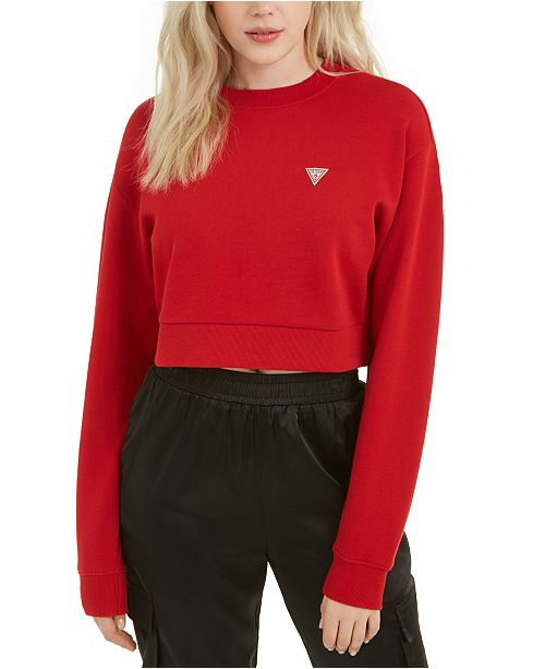 GUESS Crew Neck Long-Sleeved Cropped Sweatshirt