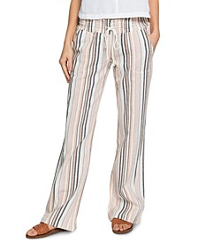Juniors' Oceanside Striped Pull-On Pants