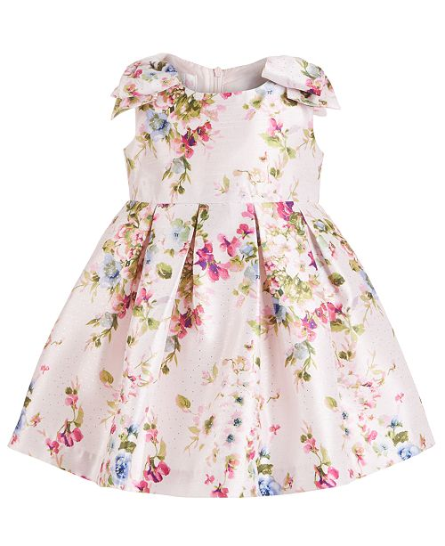 Bonnie Baby Baby Girls Floral-Print Pleated Dress