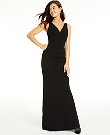 Juniors' V-Neck Cutout Maxi Dress