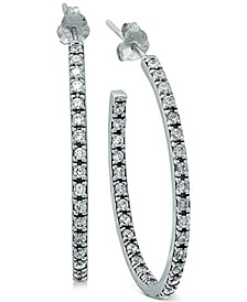 Cubic Zirconia In & Out Oval Hoop Earring in Sterling Silver