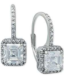 Cubic Zirconia Square Halo Leverback Drop Earrings in Sterling Silver