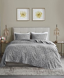 Chantelle Full/Queen 3 Piece Damask Matelasse Cotton Coverlet Set