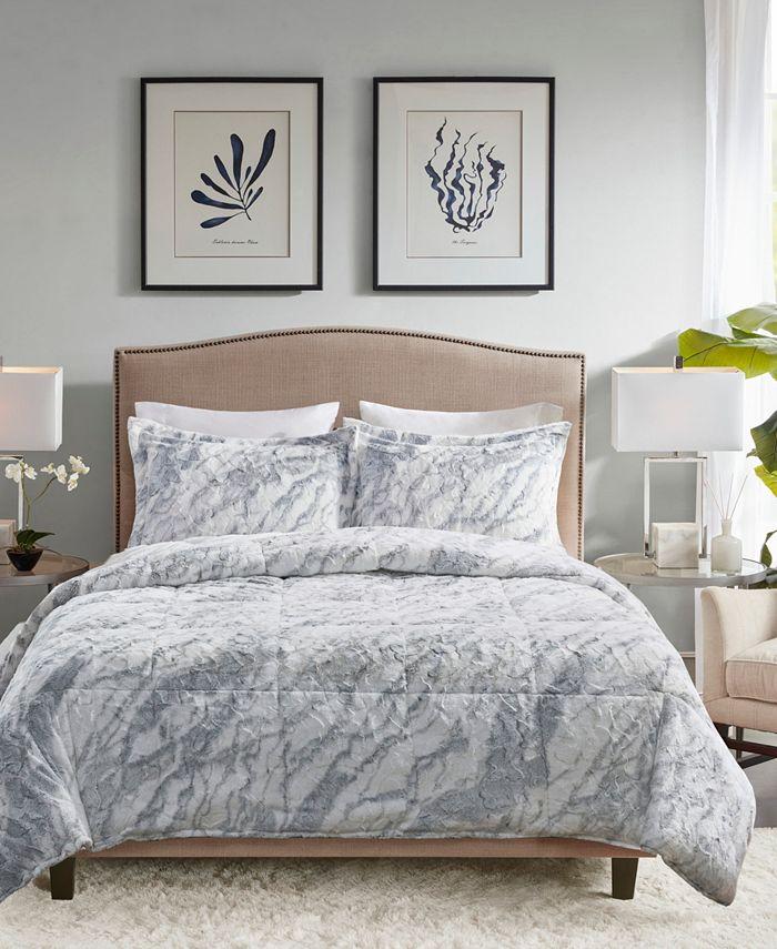 Madison Park - Lana Marble Faux Fur 3-Piece King Comforter Set