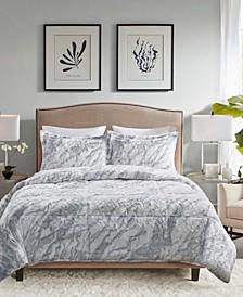 Lana Marble Faux Fur 3-Piece Queen Comforter Set