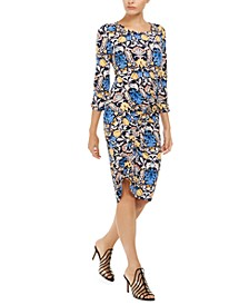 INC Printed Asymmetrical Linen-Blend Midi Dress, Created for Macy's