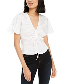 Flutter-Sleeve Drawstring Top