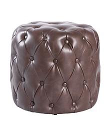 Tufted Modern Leather Round Ottoman Stool