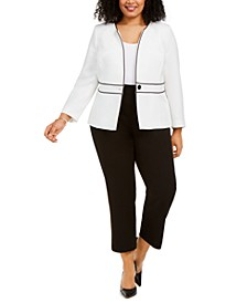 Plus Size Collarless One-Button Jacket & Ankle Dress Pants