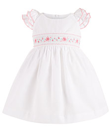 Bonnie Baby Baby Girls Embroidered Ruffle-Sleeve Dress