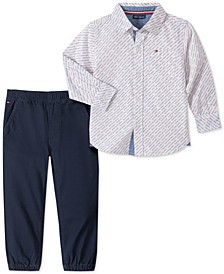 Baby Boys 2-Pc. Cotton Printed Shirt & Solid Pants Set