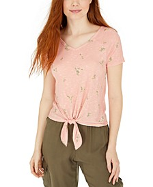 Hippie Rose Juniors' Floral-Print Tie-Front T-Shirt
