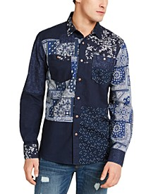Men's Indigo Patchwork Shirt, Created For Macy's