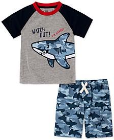 Toddler Boys 2-Pc. Colorblocked Shark Appliqué T-Shirt & Shark-Camo Twill Shorts Set
