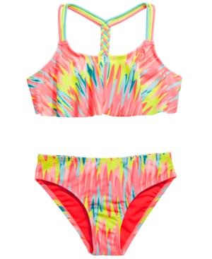 Breaking Waves Big Girls 2-Pc. Washed Out Flounce Bikini