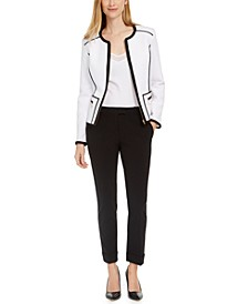 Piped Zipper Jacket And Slim-Leg Dress Pants