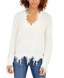 Juniors' Destructed V-Neck Sweater