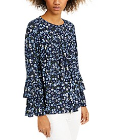Printed Tiered-Sleeve Top, Regular & Petite