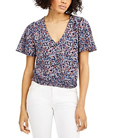 Dainty Blooms Smocked-Waist Top