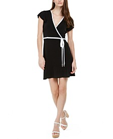 Mini Wrap-Style Piped Dress