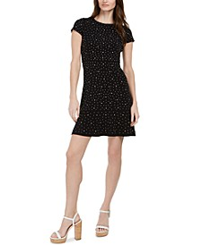 Flower-Studded Flounce Dress, Regular & Petite