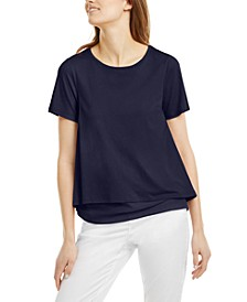 Layered-Look Split-Back Top, Regular & Petite