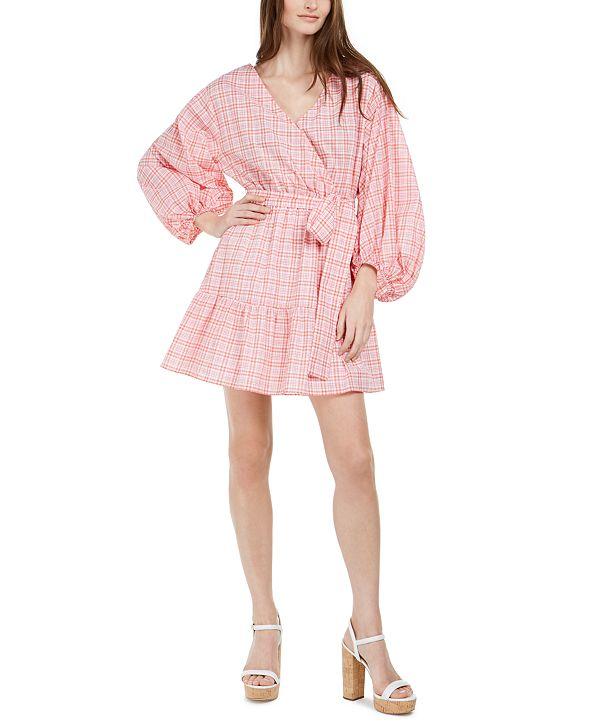 Michael Kors Printed Volume-Sleeve Wrap Dress