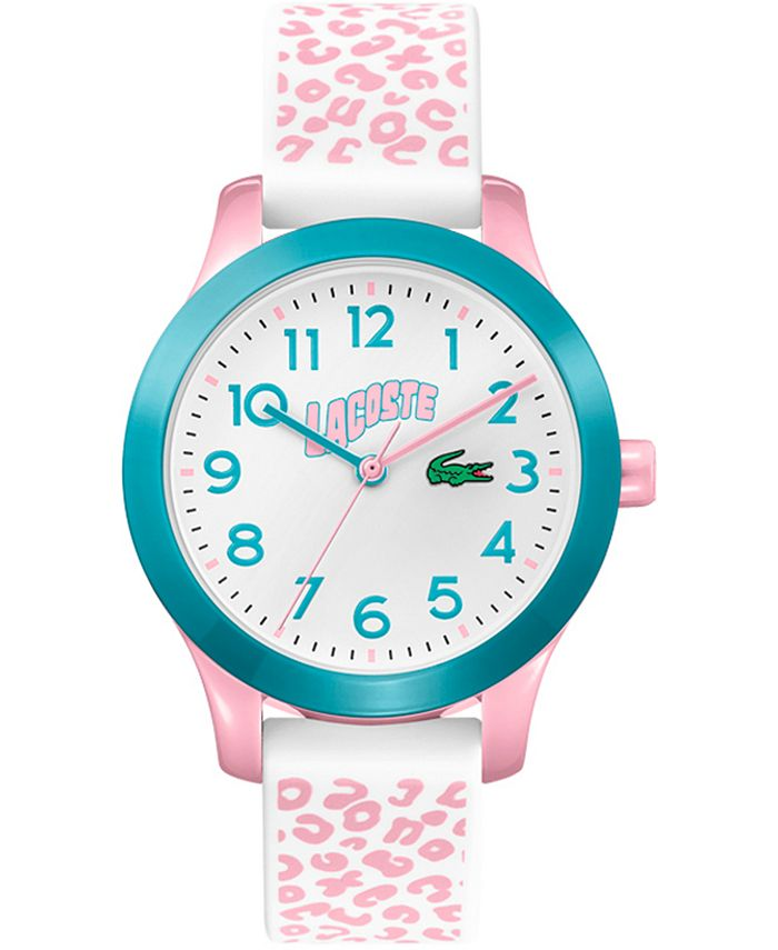 Lacoste - Kid's Swiss 12.12 White & Pink Silicone Strap Watch 32mm